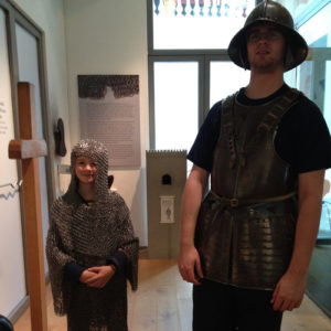Chainmail and helmet try on